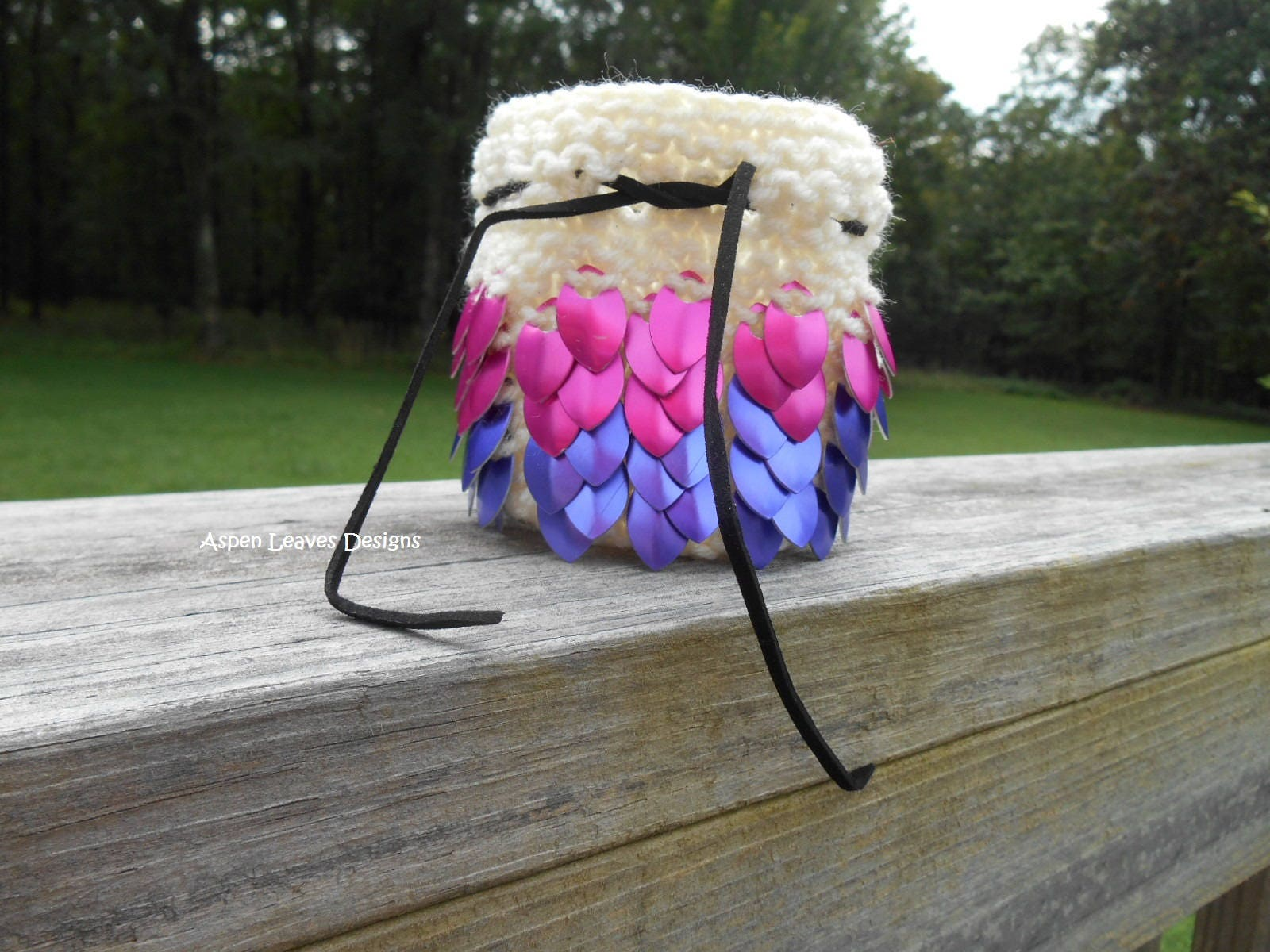 dice bag hand knit with pink and purple scales women s scale mail