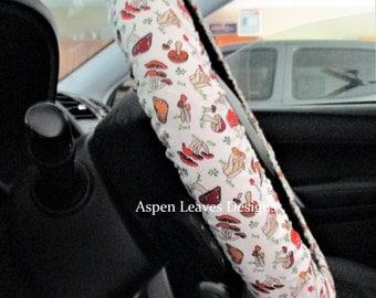Mini mushroom steering wheel cover, Forest fungi on beige fabric, Toadstool car accessory, Brown, tan, orange