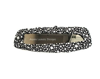 Stars s rear view mirror cover,  White glow stars on black fabric, Panoramic sizing available