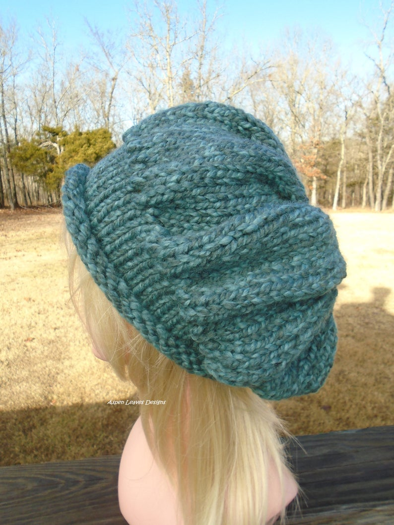 Chunky blue rolled brim hat. Medium blue hand knit slouch hat. image 0