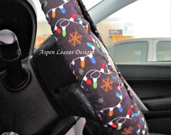 Steering wheel cover, Christmas lights and snowflakes on black, Holiday car decorations,