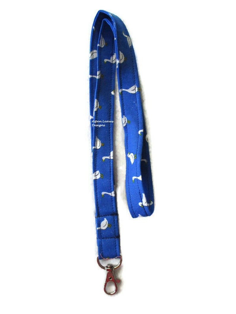 Geese lanyard. White gees on blue. Hospital workers factory image 0