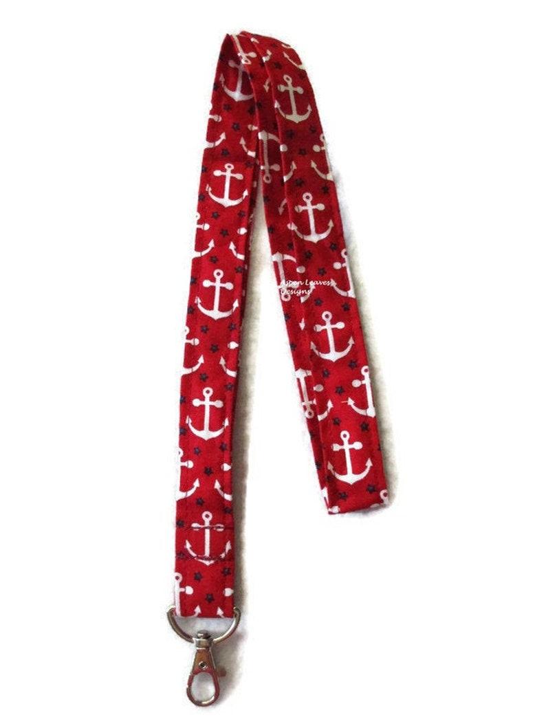 Anchor fabric lanyard. Boaters key chain. Nautical lanyard. image 0