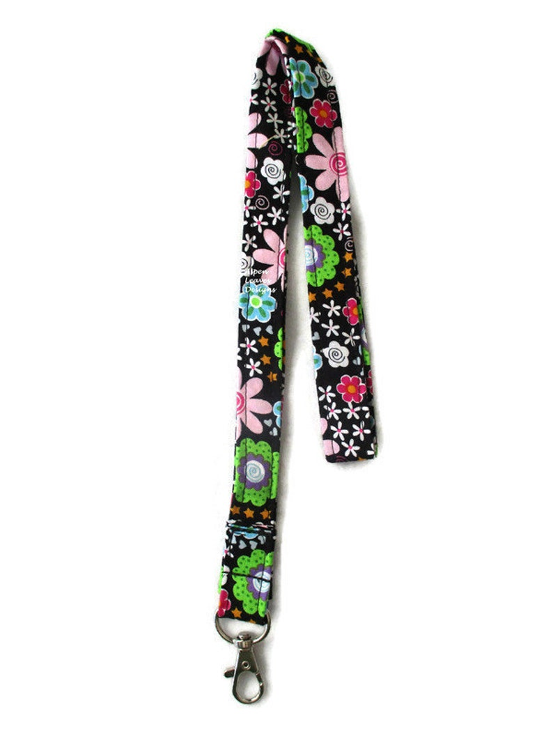 Floral lanyards. Groovy retro flowers. 60's style floral. image 0