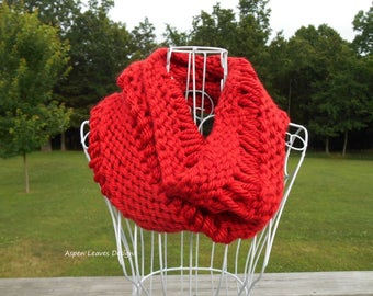 Loop Cowl, -- Discontinued -- Red  Winter Infinity Scarf in drop stitch pattern. Hand knit.