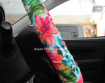 Tropical paradise steering wheel cover, Hawaiian Island style floral car decor,