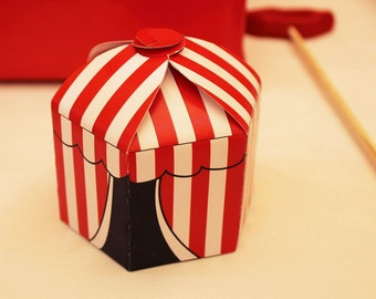 RED Instant Download  Circus/Carnival Party Favor Box PRINTABLE/DIY Decorations