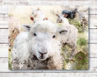 "Farmhouse-style Digital Watercolor ""SHEEP"" Printable Poster 10x8"