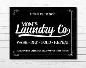 Vintage Farmhouse Distressed Mom's Laundry Co. Printable Poster