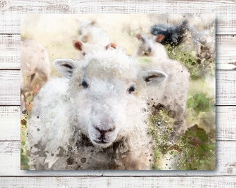 "Farmhouse-style Digital Watercolor ""SHEEP"" Printable Poster 20x16"