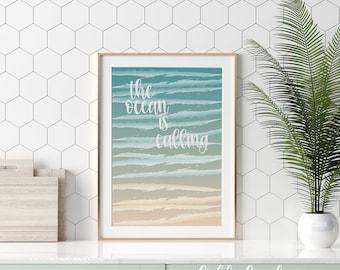 "Printable ""The Ocean is Calling"" Digital Watercolor Poster/Wall Art"