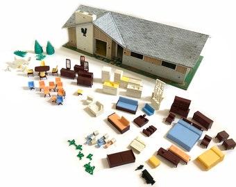 Marx doll house | Etsy Ranch Dollhouse Plans on wooden toy car plans, wooden toy train plans, black box plans, tool tote plans, serenity plans, er plans, bookcase plans, sanctuary plans, woodworking plans, wooden pull toys plans, life plans, firefly plans, floor plans,