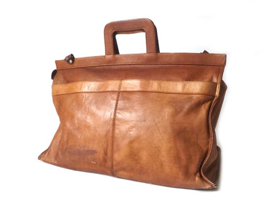 Vintage Wide Tan Leather Briefcase ... 1970s Lawye