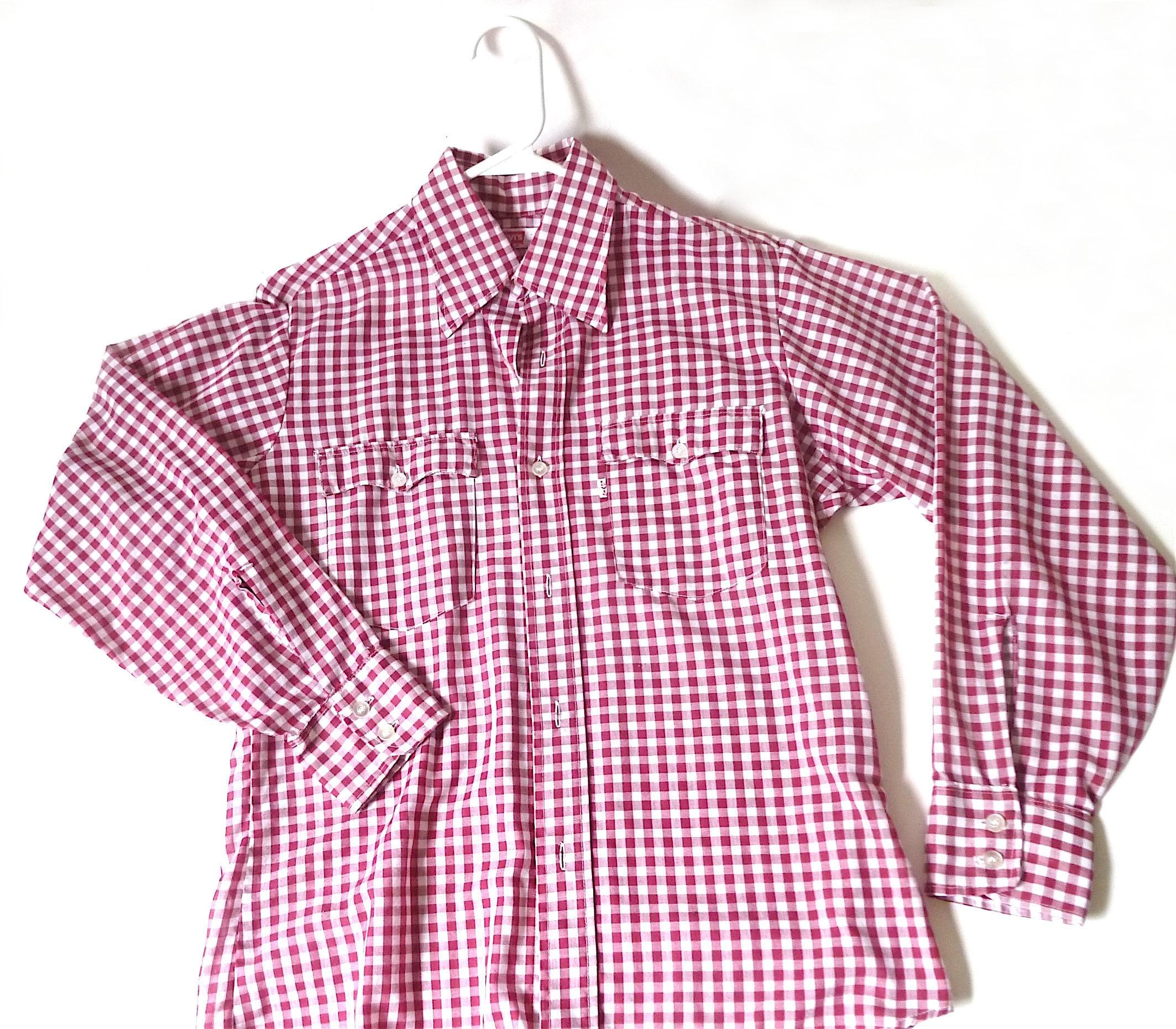 1970s Men's Shirt Styles – Vintage 70s Shirts for Guys Vintage Levis Gingham Shirt ... Mens 1970S Plaid Cotton Button Down, Burgundy Checkered Medium Blouse Top Boyfriend Cowboy Retro $19.00 AT vintagedancer.com