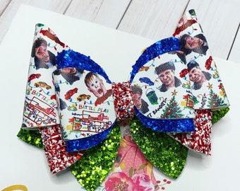 Christmas Hair Bow: Santa Hair Bow + Rudolph Reindeer + Christmas Tree + Holiday Movie + Snap Clip + Faux Leather + Glitter Feltie + Clay