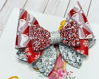 Christmas Hair Bow: Glitter Santa Hair Bow + Faux Leather Bow + Kris Kringle + Single Bow or Pigtail Set + GIft for Her + Stocking Stuffer
