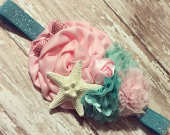 Mermaid Headband + Starfish Headband + Festival Headband + Under the Sea + Sea Queen + Beach Wedding + Birthday Party + Photo Prop + Shell