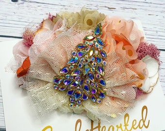 Christmas Hair Bow, Floral Boutique Bow, Rhinestone Xmas Tree, Neutral Pink Blush Flower, Over The Top, Ready To Ship, Tulle Lace Chiffon