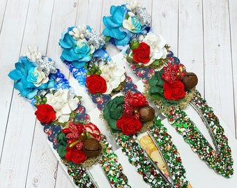 Christmas Snap Clips: Floral Snap Clips, Paper Flowers, Floral Accents, Christmas Floral Print, Snowflakes, Glitter Hair Bow Clips
