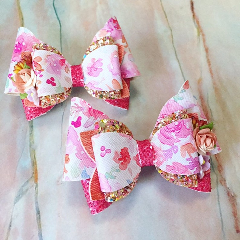 Pink Floral Hair Bow Clips: OTT Over the Top Pigtail Set image 0