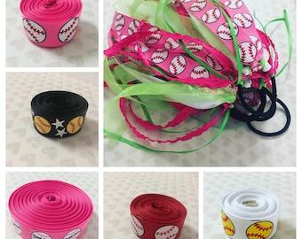 Softball Ribbon Ponytail Ribbons, Sports Hair Ties, Softball Hair Ribbons, Softball Hair Bow, Choose Sport Ribbon + 2 Matching Ribbon Colors
