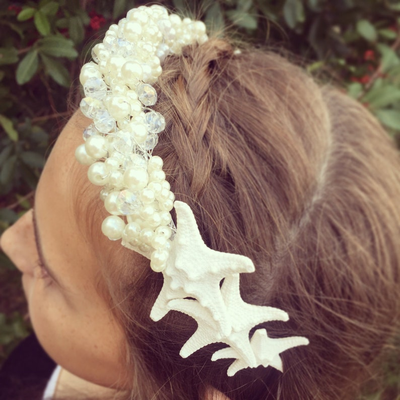 Flower Girl Hair Pearl /& Crystal Starfish Crown Bridal Tiara Beach Wedding Crown Mermaid Headpiece Sea Shell Headband Headband