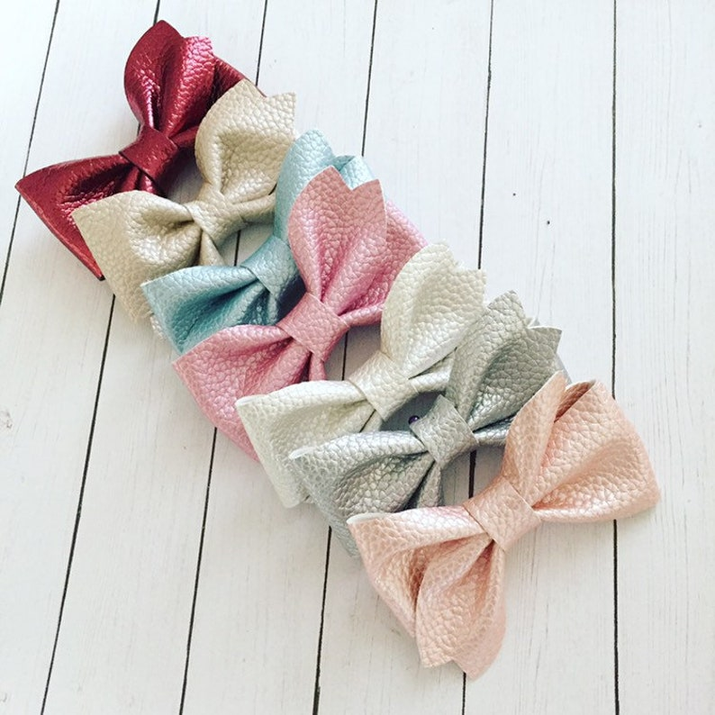 Leather Bow / Newborn Baby Girl Toddler Teen Classic image 0