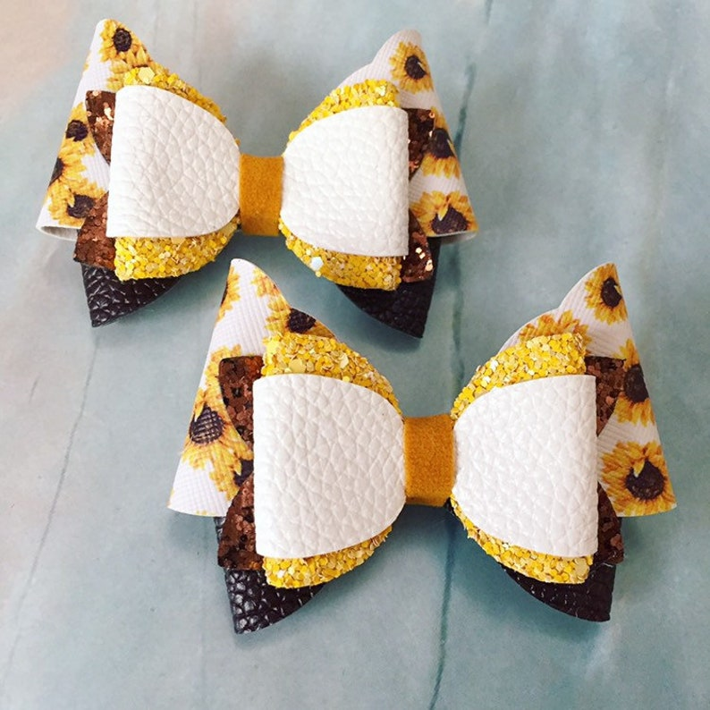 Sunflower Hair Bow Clips: OTT Over the Top Pigtail Set image 0