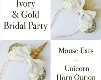 Bridal Mouse Ears, Wedding Veil Mouse Ear Headband, Bachelorette Party Mouse Ears