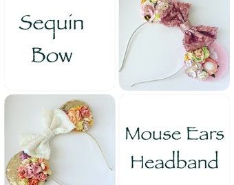 Mouse Sequin Ear Headband with Flowers for Girls and Adults, OOAK  Floral Ears, Birthday Party Headpiece, Wear on Vacation, RTS