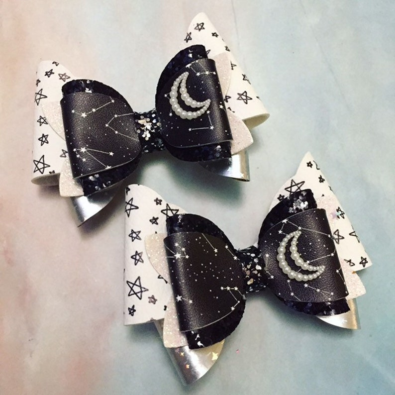 Constellation Moon and Stars Hair Bow Clips: OTT Over the Top image 0