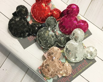 Sequin Mouse Ear Hair Clips: Padded Mouse Bow