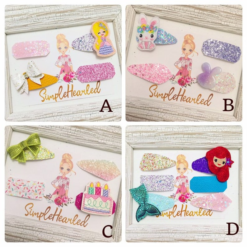 Glitter Covered Snap Clips with Felties Bows Resins and image 0