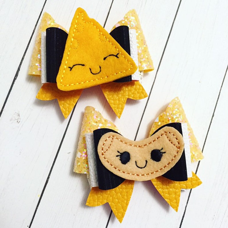 Mac and Cheese Hair Bow Clips: OTT Over the Top Pigtail Set image 0