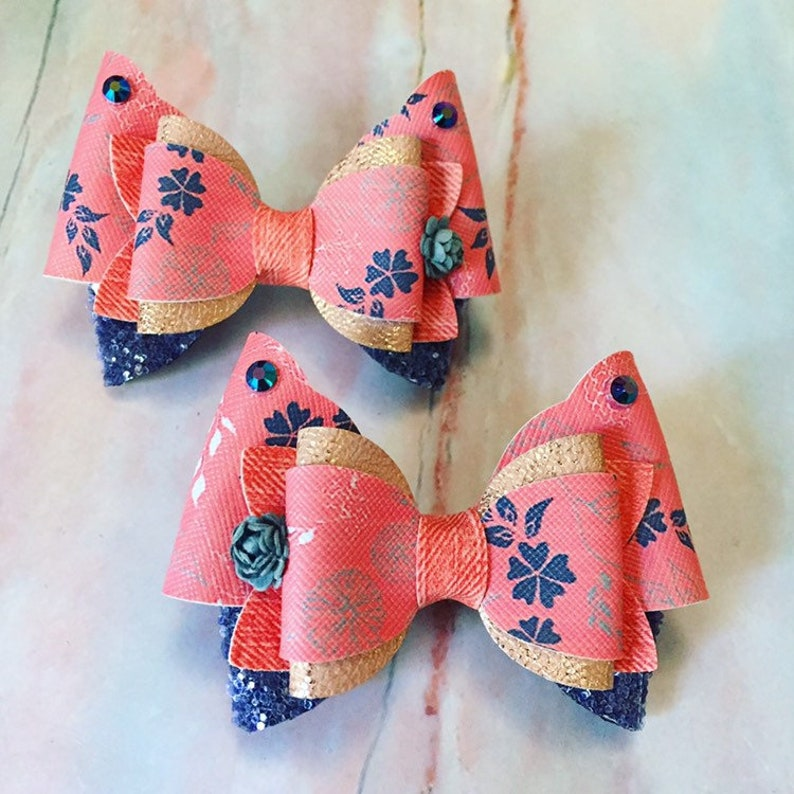 Peach Floral Hair Bow Clips: OTT Over the Top Pigtail Set image 0