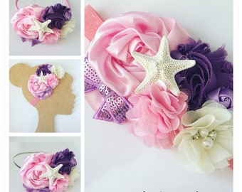 Pink Mermaid Headband {Newborn, Baby, Toddler, Girl, Adult} Under the Sea + Ocean Queen + Cake Smash + Photo Prop + Glitter Band + Starfish