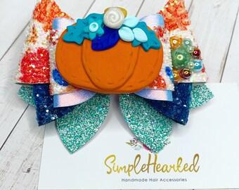 Pumpkin Hair Bow Clip/ Glitter Faux Leather Bow/ Fall Hair Clip/ Autumn Hair Accessories/ Thanksgiving Bow/ Rustic Boho / Teal Pumpkin