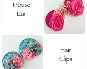 Mouse Ears Hair Clips or Mouse Ear Headband