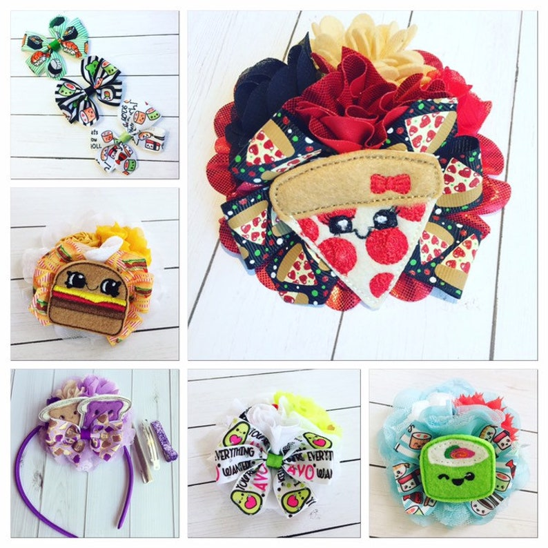 Foodie Hair Bow Clip or Headband I love... Pizza Sushi image 0