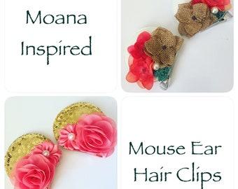 Island Princess Mouse Ear Hair Clips or Headband,  Mouse Ears for a Theme Park Vacation or Cruise
