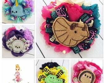 Animal Hair Bow Clip or Headband,  I love... Hedgehog, Lamb, Narwhal, Triceratops Dinosaur,  Choose: Barrette, Alligator Clip, Headband