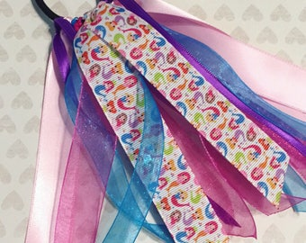 Mermaid Hair Bow, Mermaid Ponytail Holder, Mermaid Ponytail Ribbon, Under the Sea, Mermaid Birthday, Mermiad Party Favor, Mermaid Girl