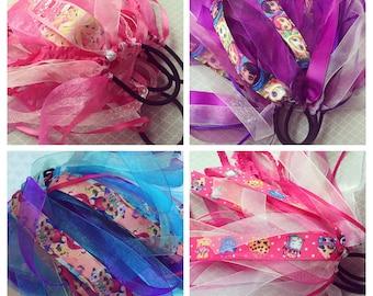 Ponytail Hair Ribbon Grab Bag, 5 Ribbon Ponytail Holders, Ponytail Hair bow, Hair Streamers Gift for Girl