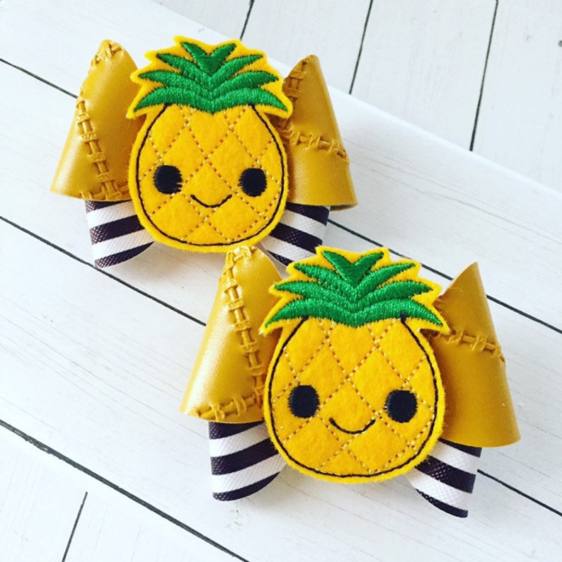 Pineapple Hair Bow Clips: OTT Over the Top Pigtail Set image 0