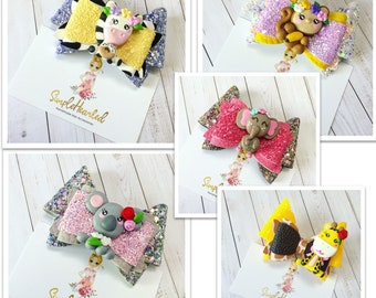 Zoo Animal Print Hair Bow Clips: Choose the Design, OTT Over the Top, Faux Vegan Leather, Glitter Canvas Material, Alligator Clip with Teeth