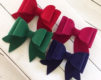 Suede Bow Clips, Set of 4