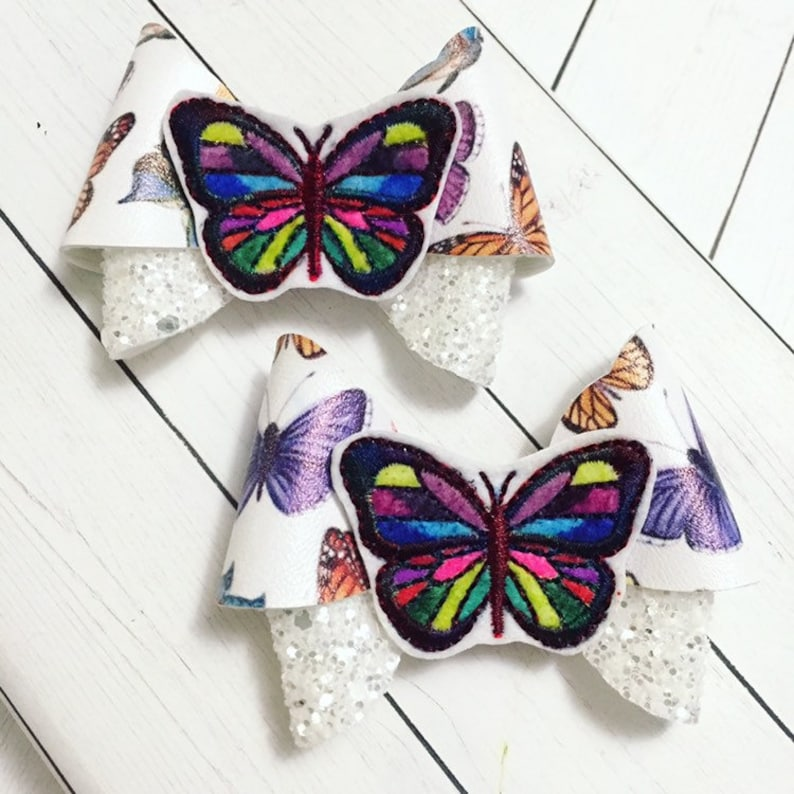 Butterfly Hair Bow Clips: OTT Over the Top Pigtail Set image 0