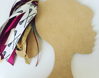 Lacrosse Ribbon Ponytail Streamers: Choose 2 Custom Colors + Lacrosse Hair Bow + Ponytail Ribbon + Girls Lacrosse + Lacrosse Ponytail Holder