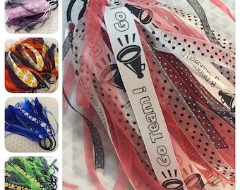 Sports Team Ribbon Ponytail Streamers & 2 Ribbon Colors: Soccer, Football, Cheer, Dance, Softball, Baseball, Golf, Tennis, LaCrosse