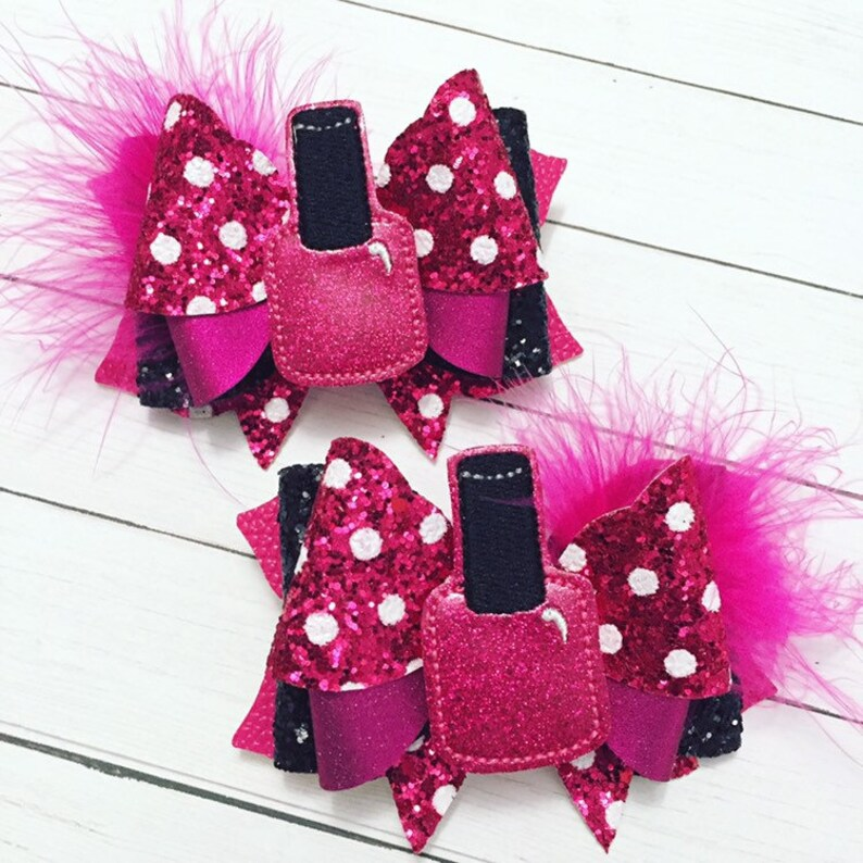 Nail Polish Diva Hair Bow Clips: OTT Over the Top Pigtail Set image 0